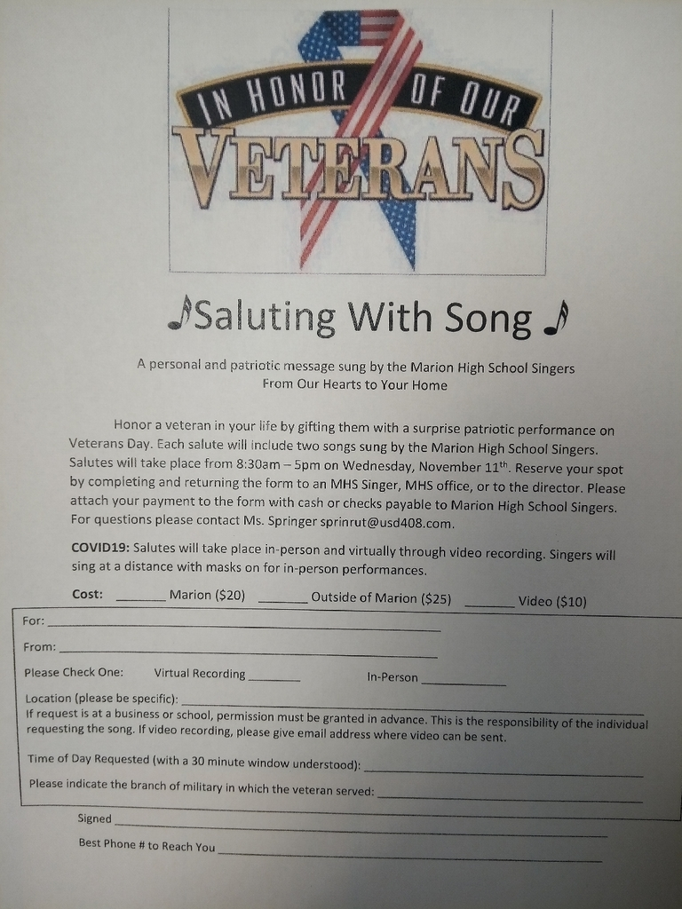 Singing Salutes will take place Nov. 11th
