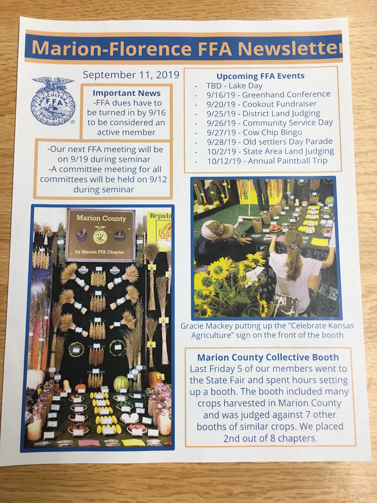 MHS FFA news for September