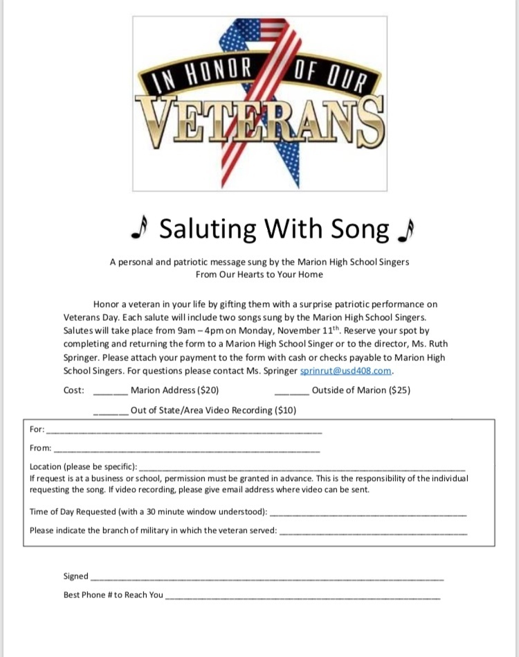 Saluting With Song Flyer